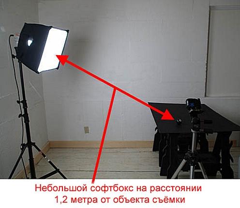 Небольшой софтбокс на расстоянии 1,2 метра от объекта съёмки