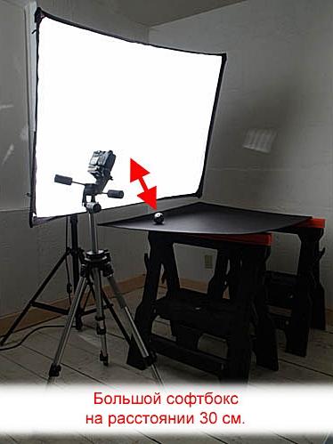 Софтбокс больших размеров на расстоянии 30см от объекта съёмки